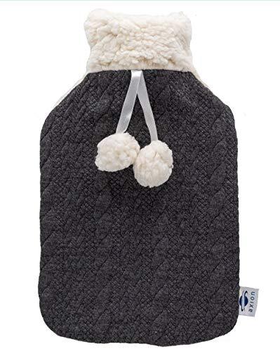 axion - Bouillotte avec housse duveteuse - en peluche noir et blanc avec pompons