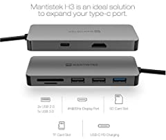 7-In-1 Multi-Port Hub Adapter Mantistek H3 is an ideal solution to expand your type-c port. Supports 4k high-definition video output, four times of 1080P. Supports mirror or expand mode, also supports PC mode for huawei mate10, mate10 pro and samsung...