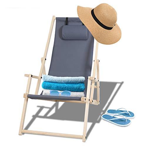 TolleTour klappbar Holzliegestuhl Gartenliege mit Armlehnen und Kopfkissen Abnehmbarem Sonnenliege für den Strand, Garten, Balkon 120 kg max.(Grau)