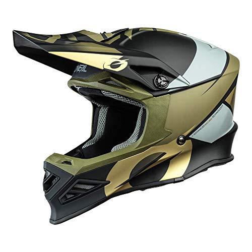 O'NEAL | Casco de Motocross | MX Enduro Motocicleta | Airflaps™ Compatible, Forro Acolchado Coolmax, Cierre de Seguridad Doble-D | F-SRS Helmet Glitch | Adultos | Negro Bronze | Talla M