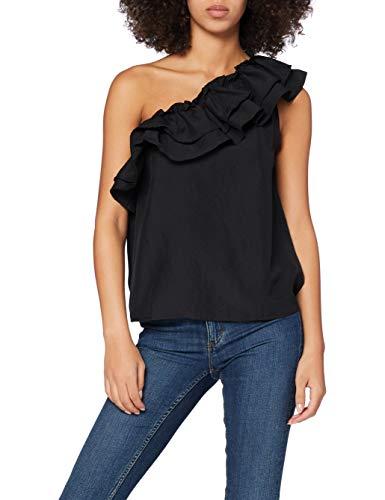 Vero Moda VMLUCINDA One Shoulder Top VMA KI Camiseta sin Mangas, Negro, S para Mujer
