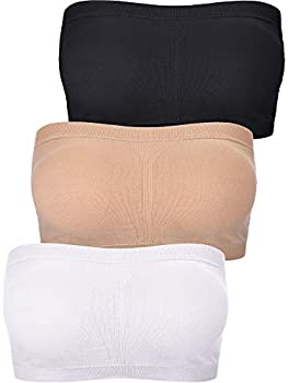 Women Bandeau Bra Padded Strapless Brarette Bra Seamless Bandeau Tube Top Bra