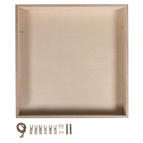 Rayher 62818000 Holz-Rahmen mit Holz-Rückwand, 32x32 cm, Tiefe 5 cm, mit Kordel, Aufhänger, Schrauben, Klammern für Dekorationen, ohne Glas