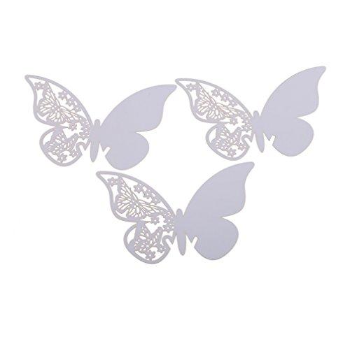Demiawaking 50 pcs Farfalla Carte di Vetro di Vino Segnaposto Segnabicchiere Decorazione del Vetro per Matrimonio Partito Vacanza Serata di Festa (Bianco)