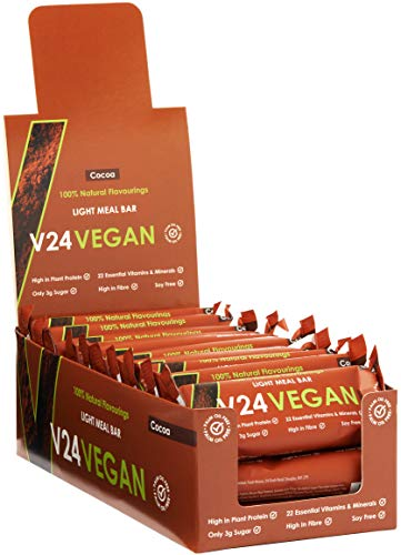 V24 Vegan - Light Meal Bar - 72g x 15 Pack (£1.95 / Item) - High in Plant Protein & Fibre | 22 Essential Vitamins & Minerals | 100% Natural Cocoa Flavour (Chocolate)