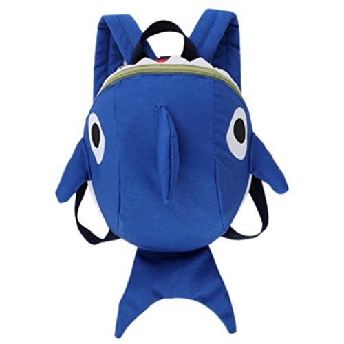 Longra Baby Kinder Anti-Verloren Rucksack/Rucksäcke für Babys/Baby Backpack/Kindergartentasche/Kindergartenrucksack/Schultasche/Wickelrucksack für Babys/Kleine Kinder Hai Tier Rucksack (Blue)