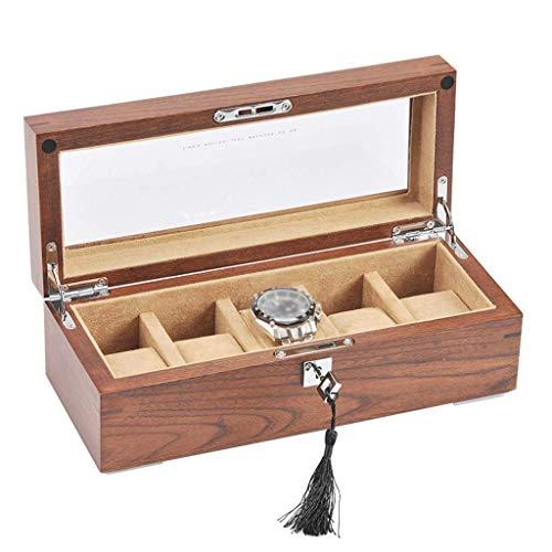 GQSHK GQSHK Uhrenbox 5 Uhren Slots Schmuck Organizer Holz Vitrine Aufbewahrungsboxen mit Glasdeckel und für Männer Frauen