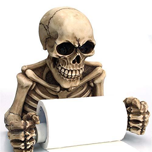 XIAMUSUMMER Toilettenpapierhalter DIY Halloween Dekor Skeleton Skulls Dekorativer Klopapierhalter Gebürstet WC Papier Halterung Gruselige Toilette