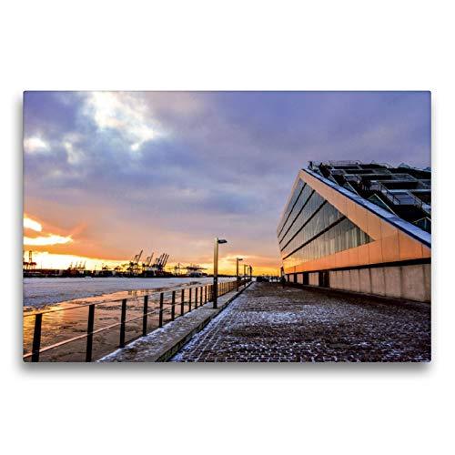 Premium Textil-Leinwand 75 x 50 cm Quer-Format Schnee am Dockland | Wandbild, HD-Bild auf Keilrahmen, Fertigbild auf hochwertigem Vlies, Leinwanddruck von Florian Kunde
