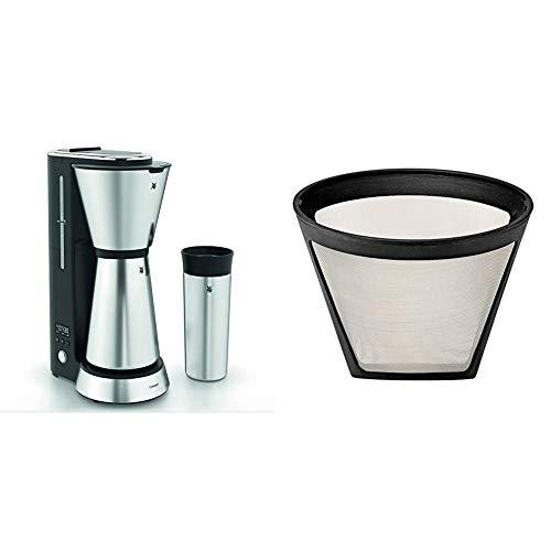WMF Küchenminis Aroma Filterkaffeemaschine mit Thermoskanne, 870 Watt, Thermobecher to go, cromargan matt & 0412980011 Küchenminis AromaOne Permanent Kaffeefilter-Ersatz, Silber