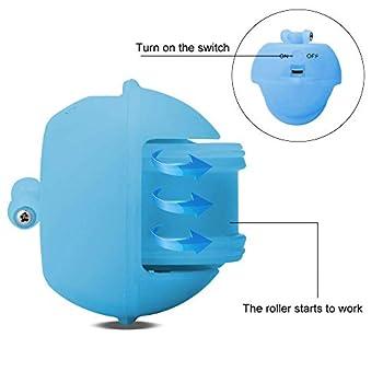 WLMall Jouet Chat - Balle à Rouler Automatique, Chargement USB Jouet Exercice à LED, Boule Auto-Rotative à 360 Degrés, avec Plume Détachable pour Animal de Compagnie (Bleu)