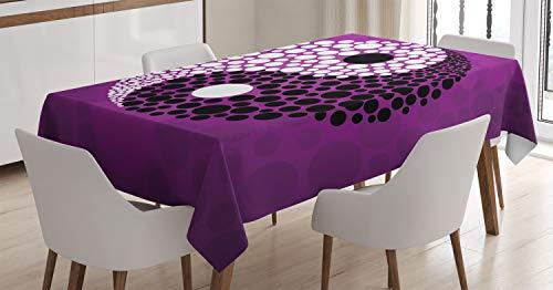 ABAKUHAUS Ying Yang Nappe, Équilibre Ying Yang Harmony, Linge de Table Rectangulaire pour Salle à Manger Décor de Cuisine, 140 cm x 170 cm, Violet Blanc Noir