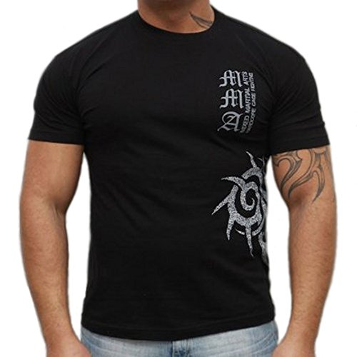 Dirty Ray Kampfsport MMA Tribal Team Herren Kurzarm T-Shirt K24 (XXL)