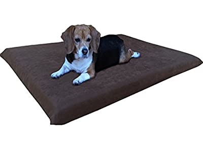 Dogbed4less 2 Pack Gel Cooling Memory Foam Dog Bed for Medium Large Pet with Waterproof Internal Cover, Microsuede Espresso 45X27X3 Inches