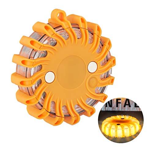 Relaxdays LED Warnleuchte mit Magnet, Batterie, Warnlicht für Auto, Unfall, Panne, Rundumleuchte mit Blinklicht, orange