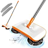 Household Cleaning Floor Sweeper 360 Hand Push Broom Sweeper with 2PCS Sweeper Pads Non Electric for Carpet, Tile, Rug and Hardwood