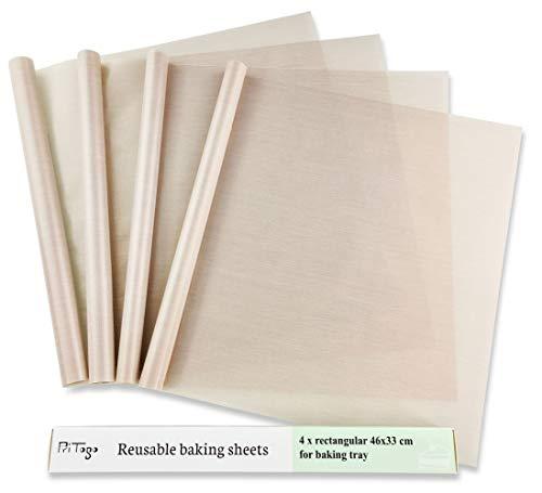 Pritogo Dauerbackfolie, Backpapier, Backfolie, Backunterlage, Silikonmatte (4er Set), 46 x 33 cm (Blechgröße), ohne Fett und Öl, zuschneidbar, spülmaschinenfest, antihaftbeschichtet