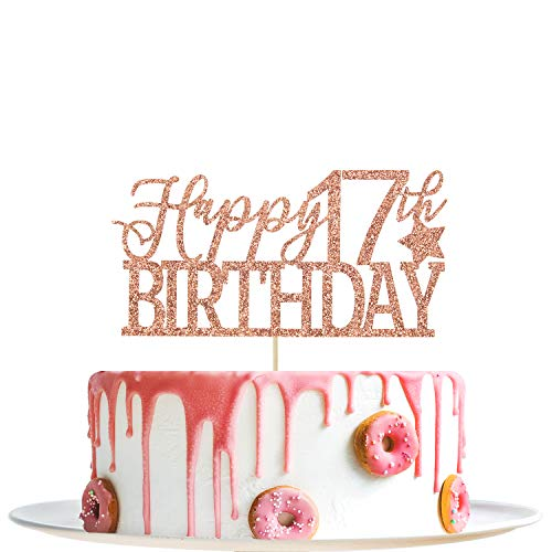 Rose Gold Glitter Happy 17th Birthday Cake Topper- Hello 17- Cheers to 17 Years Party Decoration