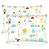 Toddler Pillow,13 x 18 Inch Kids Pillows for Sleeping, Machine Washable Small Infant Baby Pillow for Travel, Bed Set, with Soft Organic Cotton Pillowcase