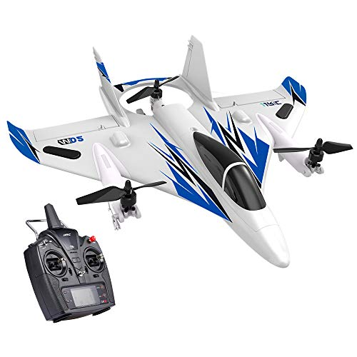 GoolRC MO2 RC Plane, 2.4G 6CH 3D/6G Remote Control Airplane, Brushless Multi-Motor Vertical Takeoff Outdoor Stunt LED RC Glider Fixed Wing Aircraft RTF for Kids Boys Adult Beginner (Blue)