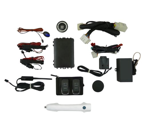 EasyGO AM-PLT-NH578 Smart Key Remote Start and Alarm System with Taffeta White Driver's Door Handle for Honda Pilot