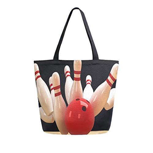 HMZXZ RXYY Sport Bowling Ball Segeltuch Tasche Schwer Pflicht Groß Frauen Beiläufig Schulter Tasche Handtasche Wiederverwendbar Einkaufen Tasche Bag für Draußen Reise