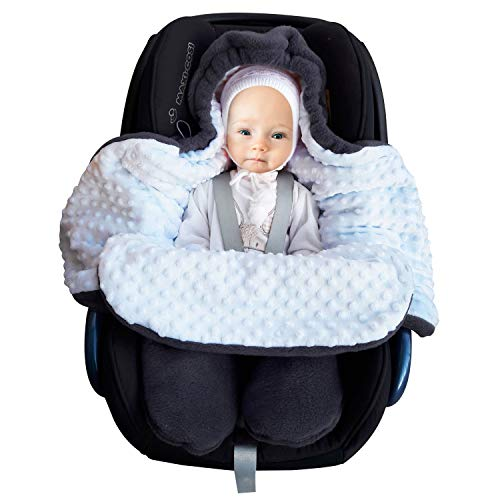 SWADDYL ® Fußsack Einschlagdecke Maxi cosi I Baby Wintersack I Babydecke für Babyschale, Kinderwagen - für Winter aus Fleece (Dunkelgrau-Blau)