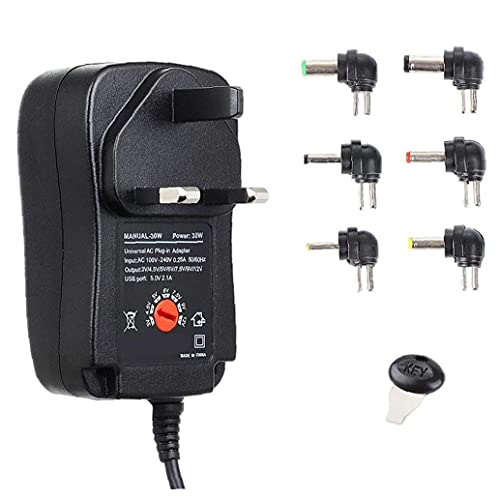 Kit de tubo encogido por calor Adaptador de corriente 30W 3-12V Cargador ajustable con adaptador USB 6DC para la tira de luz HUB STYLE3