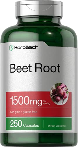 Beet Root Powder Capsules 1500mg | 250 Pills | Herbal Extract | Gluten Free, Non-GMO Supplement | by Horbaach