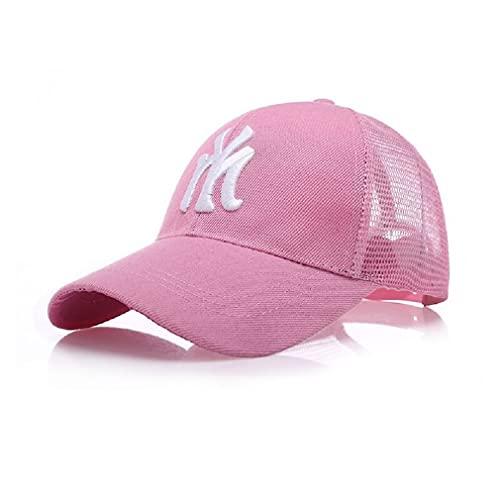 Boné Nova iorque malha boné bordado algodão boné de beisebol papa chapéu verão sol sombra snapback chapéu masculino e feminino moda casual ao ar livre chapéu (Rosa)