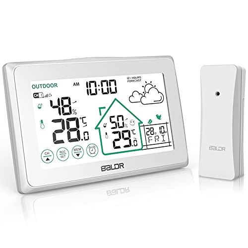 BALDR Wetterstation Funk mit Außensensor, Digital Thermometer Hygrometer Innen und Außen Raumthermometer Hydrometer Feuchtigkeit mit Wettervorhersage, Uhrzeitanzeige, Wecker und Nachtlicht1 (Weiß340)