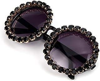 TYJYY Sunglasses Lunettes De Soleil Oversize De pour Femmes Vintage Lunettes De Soleil avec Strass Lunettes De Soleil Rond...