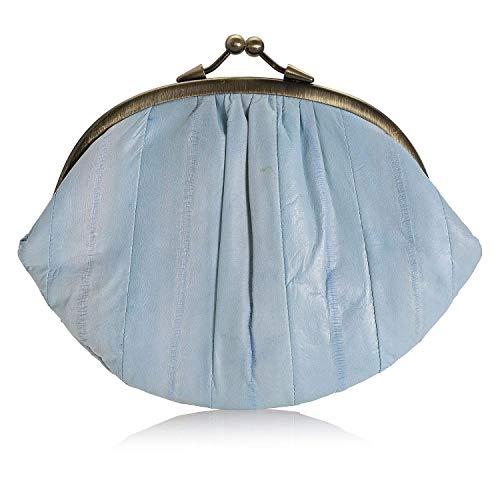 Becksöndergaard Leder Geldbörse Damen Granny Aalleder Hell-Blau (Baby Blue): Retro Portemonnaie + Viele Fächer für Münzen Perso Karten + Klippverschluss - 269