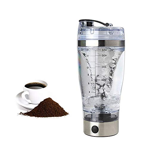 Shaker Elettrico per Proteine in Acciaio Inox Vortex Mixer Integratori Palestra Shaker Automatico Professionale 450ml