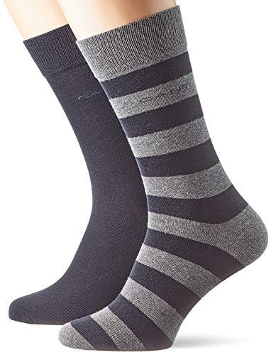 GANT Herren D1.2-Pack Barstripe and SOLID Socken, Grau (Charcoal Melange 90), One Size (Herstellergröße: Oversize)