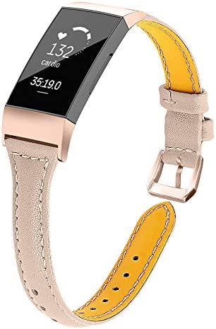Joyozy Slim Genuine Leather Bands Compatible for Fitbit Charge 3 4 and Charge 3 SE Smart Watch product image
