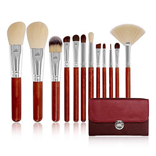 PoJu Erweitertes Make-up-Pinsel 12-Teiliges Make-up-Pinsel-Set mit Natürlichem Rosshaar und...