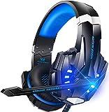 Auriculares estéreo para juegos para PS4, PC, Mac Nintendo, controlador Xbox One, cancelación de ruido con micrófono, luz LED, sonido envolvente de graves