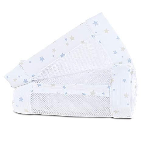 babybay Tour de Lit en Maille-Piqué Convient pour Modèle Maxi Boxspring Comfort/Comfort Plus Blanc avec Mélange d'Étoiles Sable/Bleu Ciel 1 Unité