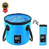 BeeTwo Portable Collapsible Bucket Compact 20L Outdoor Wash Basin Foldable Water Bucket Containe for Travelling Camping Hiking Fishing Washing (Blue)