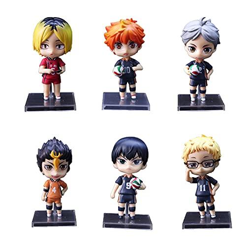 6PCS Anime Q Version Figura, Haikyuu Muñeca Personaje Modelo, PVC Figuras de Acción Colección Decoración Estatua Regalo -6PCS