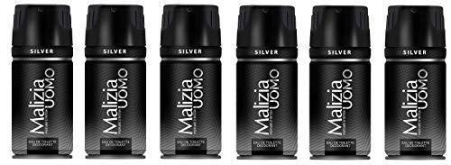 Malizia Uomo Silver Deodorant Spray 6 x 150ml