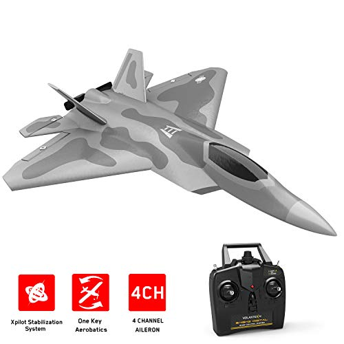 VOLANTEXRC RC Airplane 2.4Ghz 4-CH Remote Control Jet F22 2.4GHz 4CH RC Aircraft Fighter Ready to Fly with Xpilot Stabilizer System, One Key Aerobatic Perfect for Beginners (761-7 RTF)