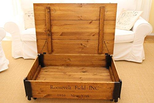 Uncle Joe´s Couchtisch Roosevelt Truhentisch Truhe im Vintage Shabby chic Style aus Massiv-Holz in braun mit Stauraum und Deckel Holzkiste Beistelltisch Landhaus Wohnzimmertisch Holztisch nussbaum - 5