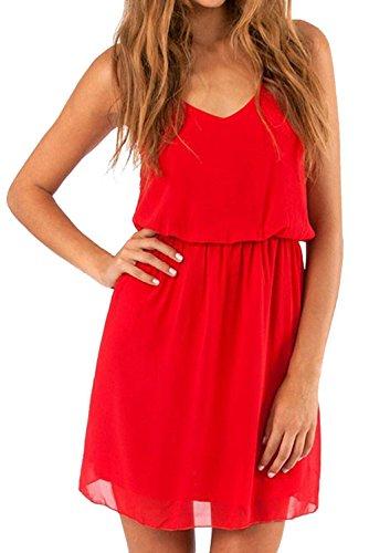 Cassiecy Damen Sommerkleid Ärmellos V-Ausschnitt Chiffon Casual doppel Schulterrieme Elegant Minikleid Partykleid(Rot S)