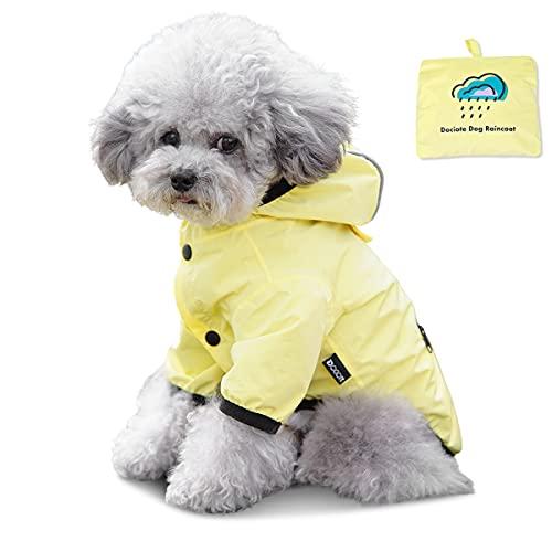 Dociote Hunde Regenjacke Regenmantel mit Kapuze Tasche wasserdichter Hundemantel Reflektierende Regencape für kleine mittelgroße Hunde Katzen Gelb M