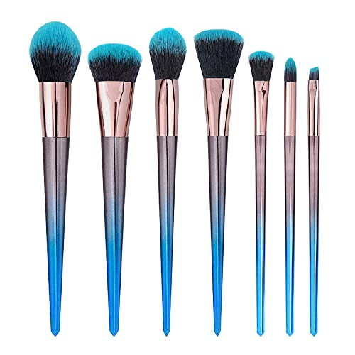 Poachers 7 Pcs Makeup Brushes Set Loose Quick Drying Soft Bristles Wooden Handle for Women Beauty Tools Make-up Eyebrows Shadow Powder Lips Candy Mascara Buffing Blush Liquid Concealers Cosmetics