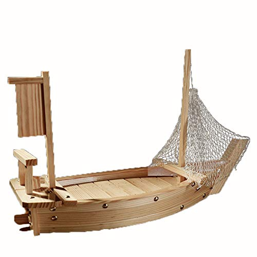 BIASTNR Sushi Boat, Piatto da portata per sushi, Barca da pesca per casa, cucina, sala da pranzo, decorazione per feste, barche, ristorante, con rete da pesca (70 x 25 x 16 cm).