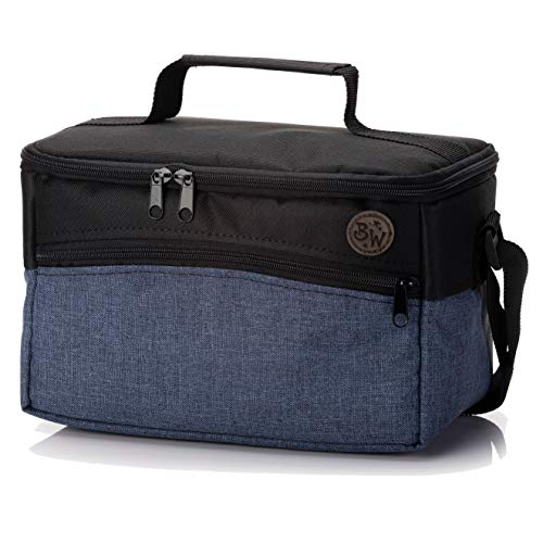BAMBINIWELT Tasche für Toniebox, Musikbox-Tasche, für Hörwürfel z.B. Toniebox und Tigerbox Touch, verstellbare Innenfächer, Netzfach für Zubehör, Toniebox Tasche (blau meliert)