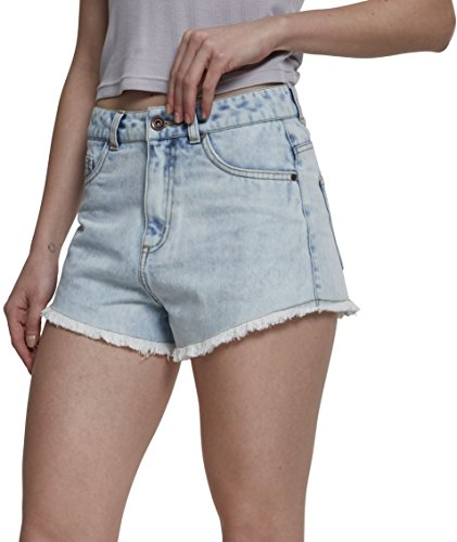 Urban Classics Damen Ladies Denim Hotpants Shorts, Blau (Blue Bleached 01375), 36 (Herstellergröße: 27)